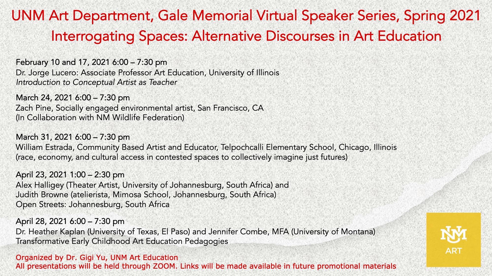 UNM Art Department SPRING 2021 ONLINE Gale Memorial Speaker Series